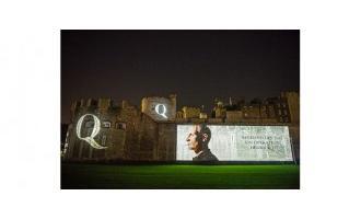War veteran images light up Tower of London's moat wall