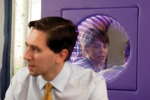 Minister for Health Simon Harris speaks to Clara Murtagh, Clinical Nurse Manager of St Gabriel's Ward in Temple Street Children's Hospital