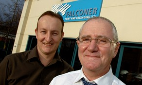 Photo of Falconer Print and Pakcaging Richard Martin production director and Hadyn Bradbury r
