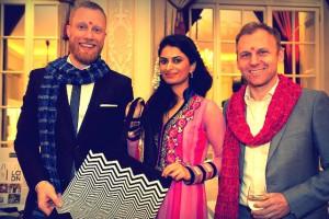 British Fashion Council Smruti and Head of CSR at Swarovski with LFW bag