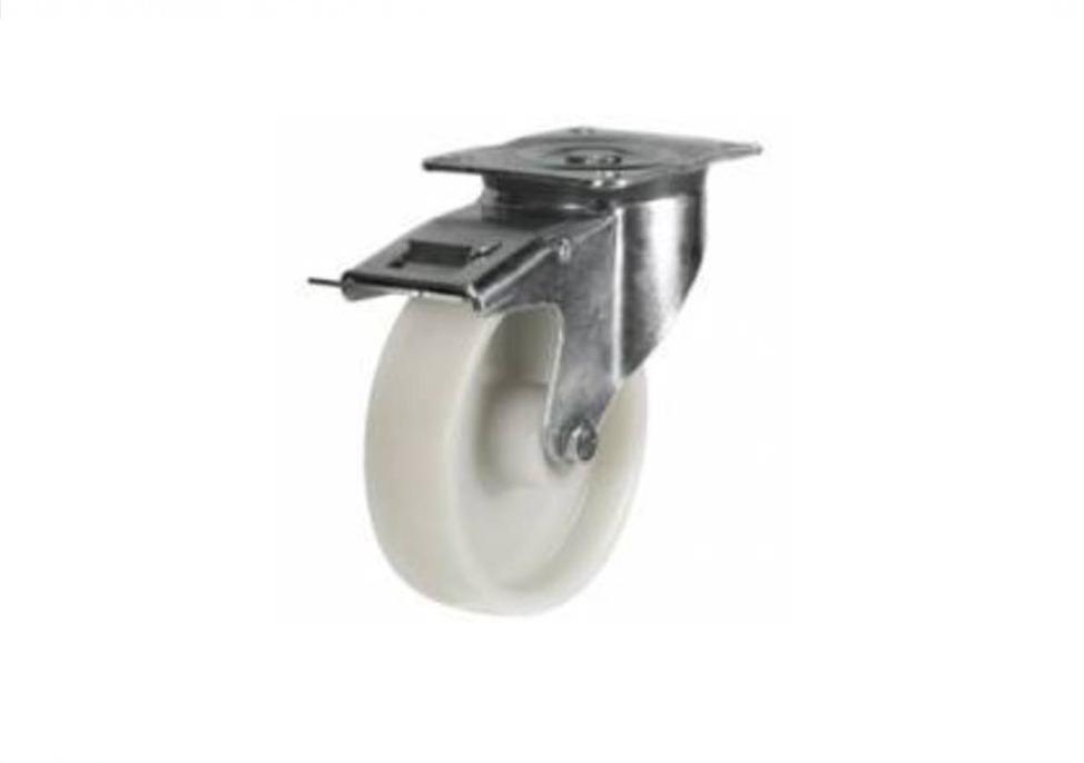 100mm White Nylon Braked Castor