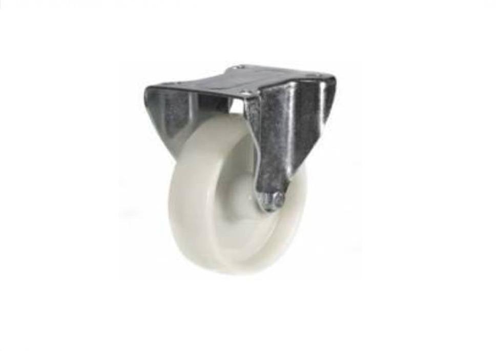 100mm White Nylon Fixed Castor