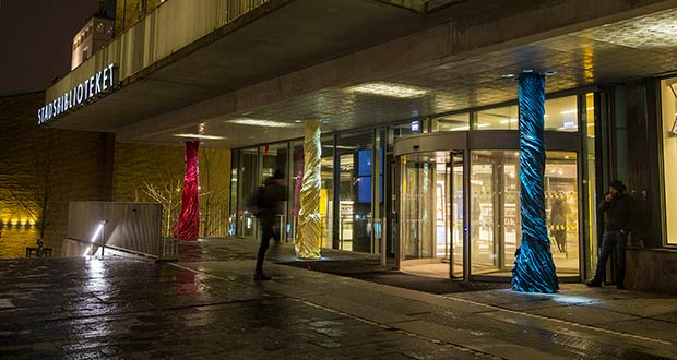 Gothenburg library picks anolis lighting for swooshy pillars