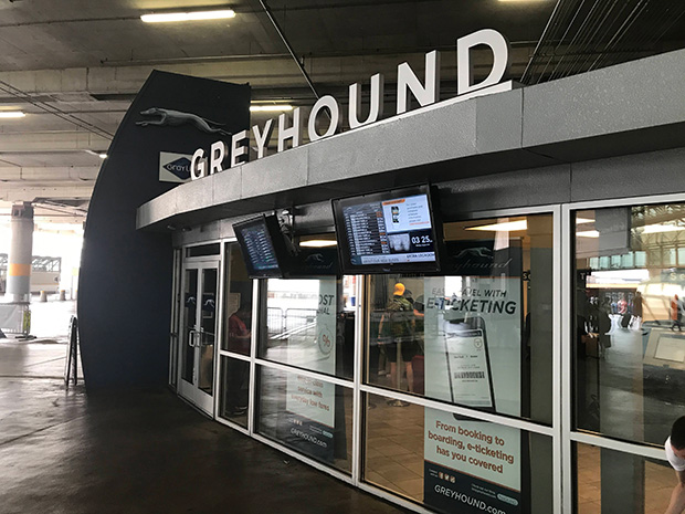 Greyhound buses get airport travel info treatment
